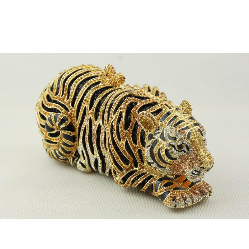 Pochette du soir en forme de tigre doré avec bracelet noir gris or cristal embrayage tigre pour femmes Designer Black Clutch Handbag