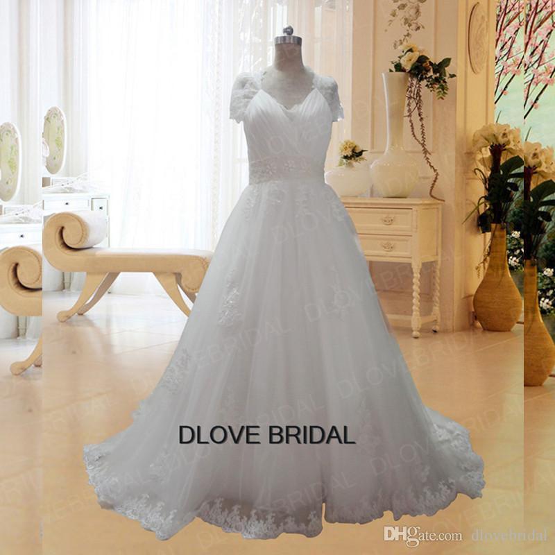 fbd554e1c911 Romantic Illusion Back Short Sleeve Ball Gown Lace Wedding Dresses High  Quality Real Photo V Neck Cap Sleeve Pearl Beaded Vestios De Novia Weding  Dress ...
