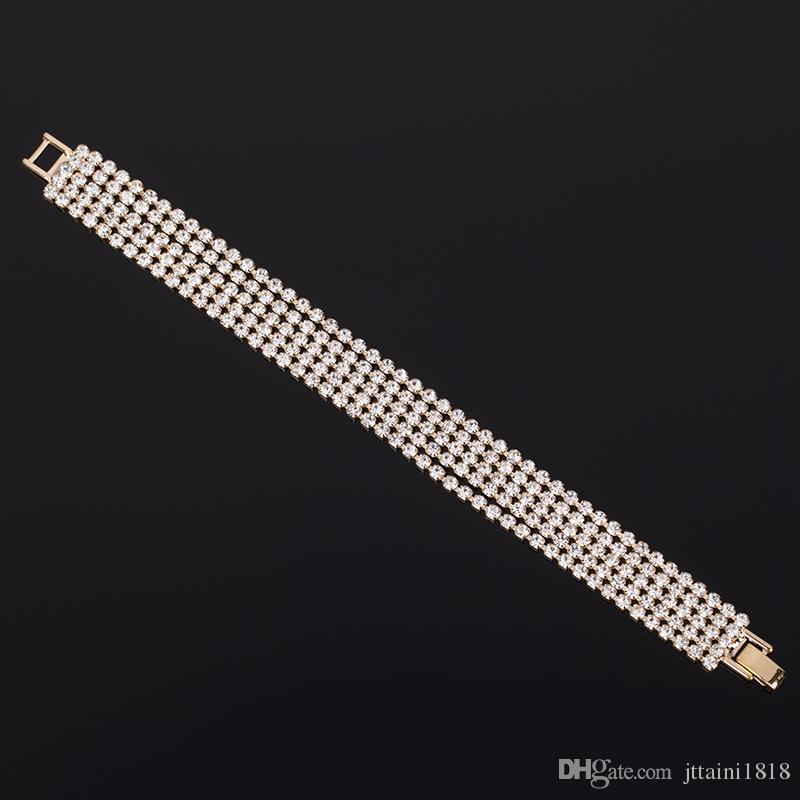 2017 elegante moda strass signore breve cristallo multi-strato nappa braccialetto femminile boemia La sposa adornano l'articolo