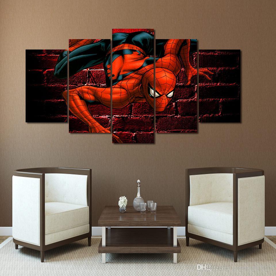 5штобрамлении HD напечатали паук комиксы холст печати живопись комната декор принт плакат картина холст Бесплатная доставка/ПУ-3052