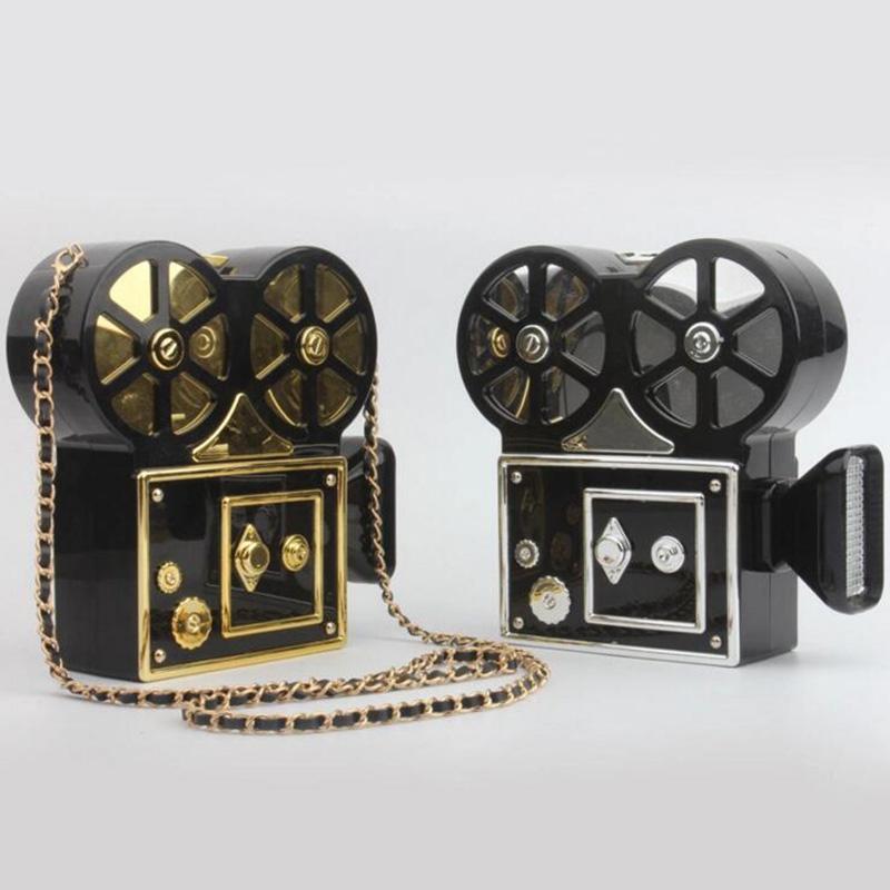 Customize Brand Designer Camera Evening Bags Acrylic Camcorder Handbag Purse Women DV Messenger Photographer Clutch Projector Shoulder Bag