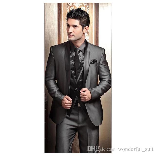 2017 Wedding Tuxedos For Men Modern Best Man Suit Grey Formal Suit