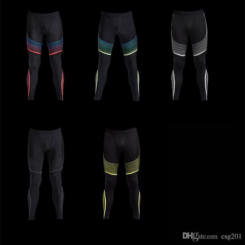 Compression Pants Quick Dry Fitness Leggings Fo Men Exercise Tights Colourful Line Striped Trousers Male Crossfit Sports Clothing