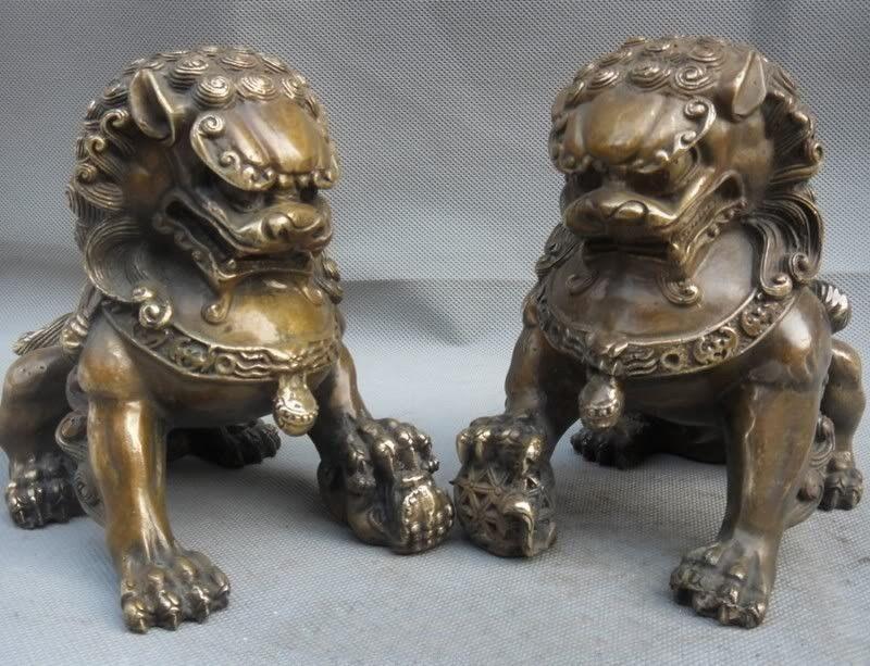 Chinês China Folk Copper Door Fengshui Guardião Foo Fu Dog Estátua Do Leão Par