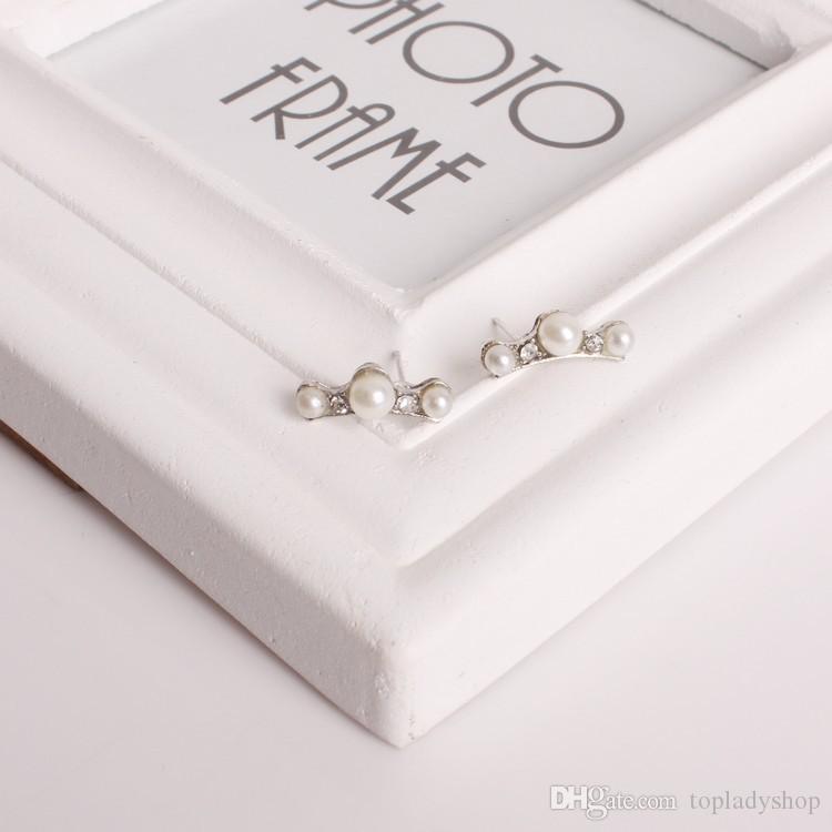 Minimal saplama küpe 3 inci kristal diamonds bayanlar saplama küpe Ücretsiz kargo Toptan