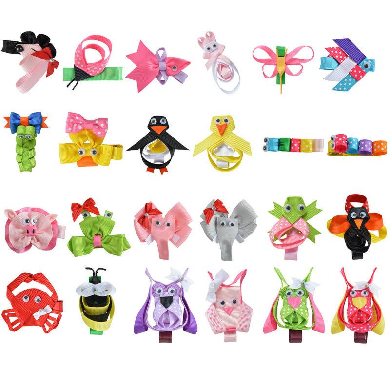 "Wholesale- 24PCS 2-2.5"" Hair Bow For Girls baby DIY Cute animals Hairpin Cheer bows Ribbon Kids Hair Clip  New Hair Accessories XCA009"
