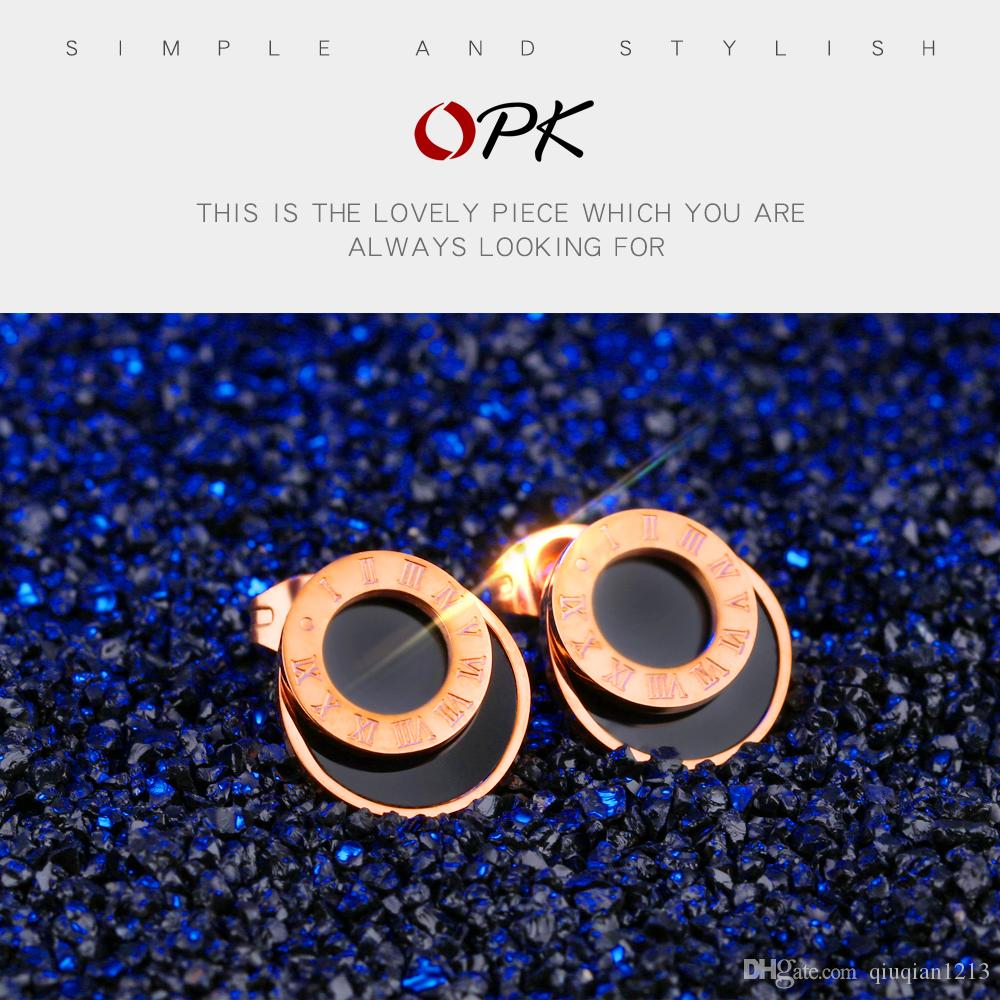 Bride Stainless Steel Piercing Earrings Ear Cuff Wedding Party Charm Jewelry Ear Stud Fashion Masquerade Party Roman Numerals Eardrop Women