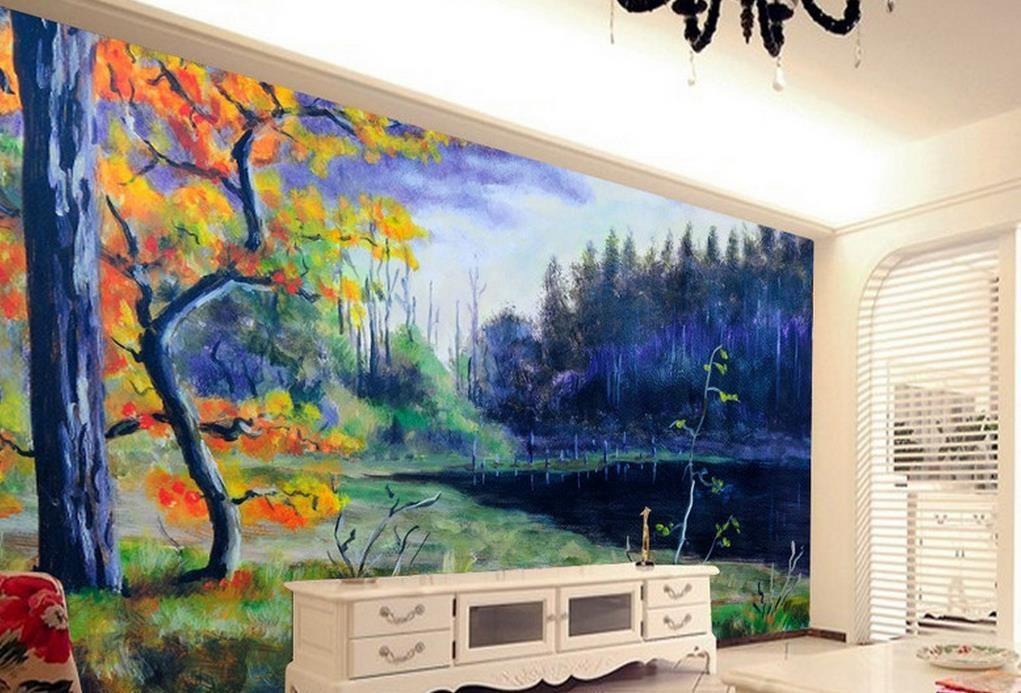светящиеся обои пользовательские современный пейзаж обои фрески берег озера каменное дерево живопись 3d обои для стены
