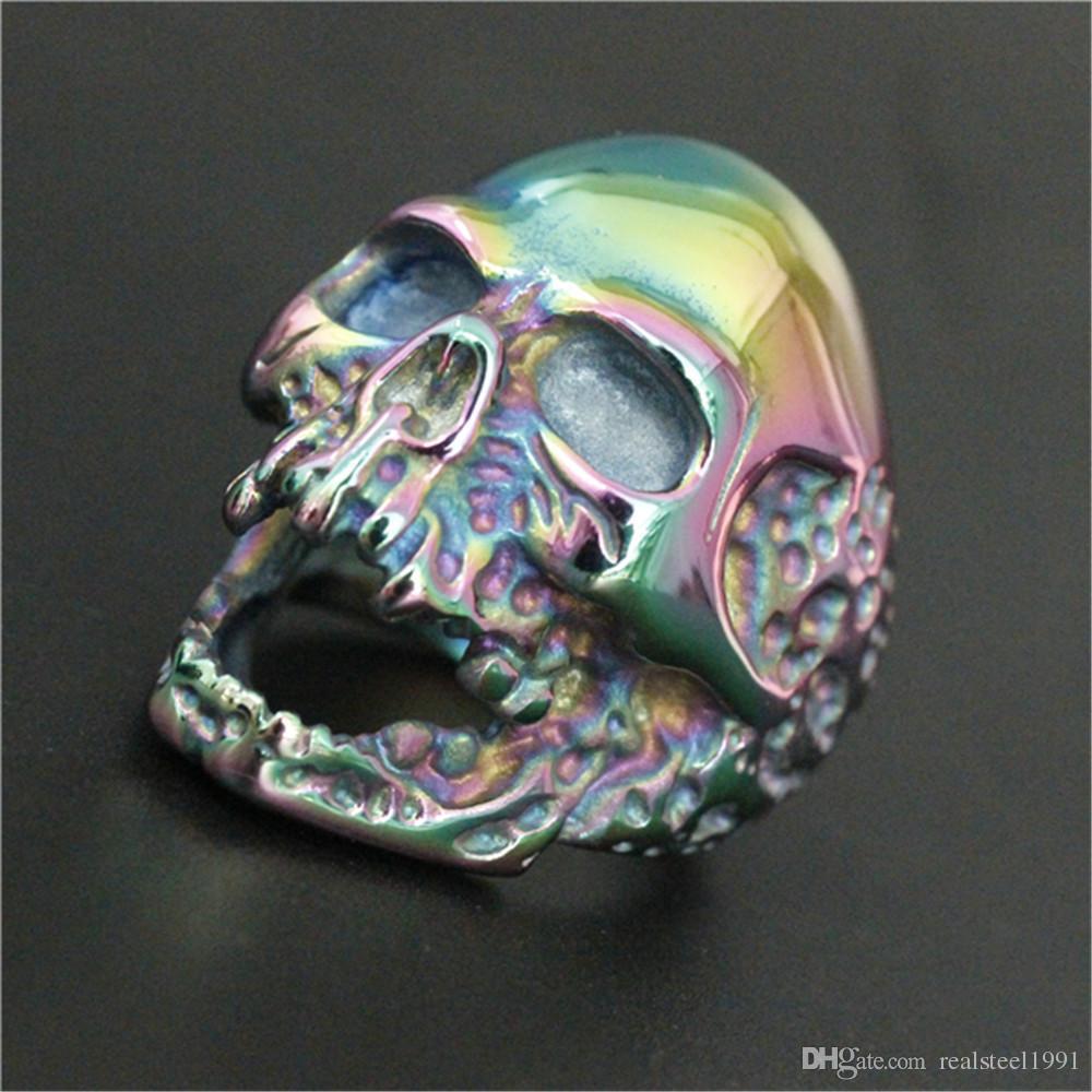 Anillo del cráneo del motorista Diseño Personal Nuevo es enorme fantasma del anillo del cráneo 316L de acero inoxidable hombre Boy de la moda