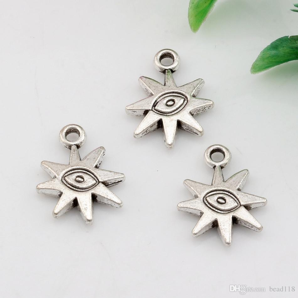 Hot ! Antiqued Silver-finished Zinc-Based Alloy Double-Sided Sun With Eye charms Fit Pendants Necklace 19 X15mm DIY Jewelry