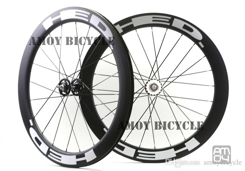 25mm width HED paint 60mm Depth fixed gear carbon wheelset full carbon 700C road track bike bicycle wheelswheels