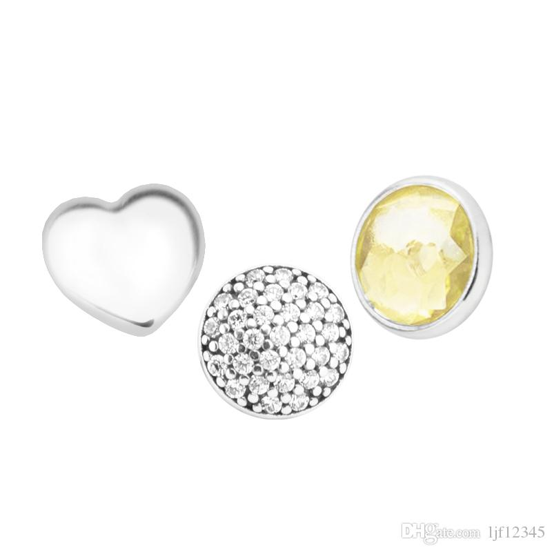 November Petites Citrine & Clear CZ Charm for Locket necklace Charms Fits Pandora Bracelet sterling silver jewelry making charms