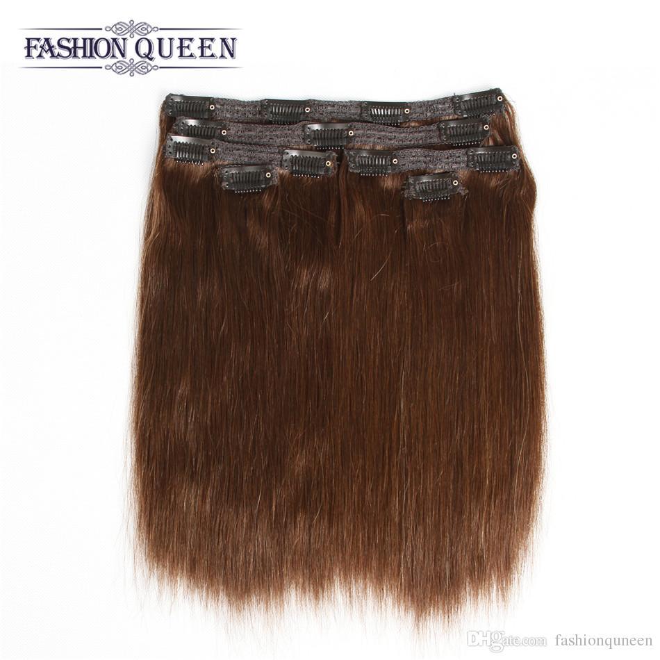 Clip In Human Hair Extensions Silk Straight 115g 2 Dark Brown