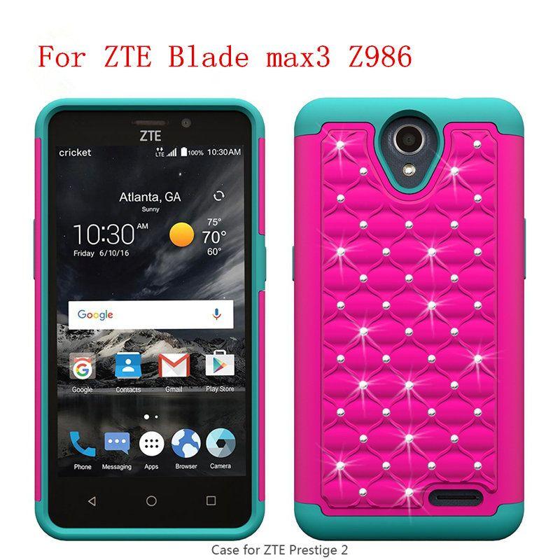 For ZTE Zmax Pro Z981 ZTE MAX XL/N9560 Blade max3 Z986 Z986U PC TPU Phone  Case Hybrid rhinestone phone cover