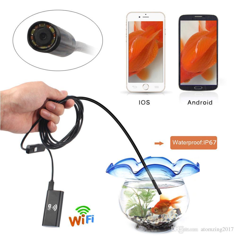 1 M 2 M 3.5 M 5 M IOS Android Wifi Endoskop 8mm Lens 6 LED Su Geçirmez Borescope Muayene Kamera 720 P Yılan Tüp Boru Mini Kameralar