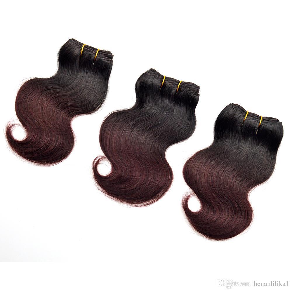 Fashion Ombre Burgundy Human Hair Malaysian Body Wave 1b 99j Wine Red Body Wave Bundles Short Malaysian Virgin Hair