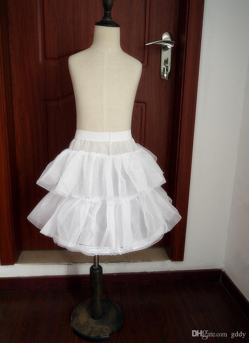 Girls' Petticoa Children Petticoats Wedding Bride Bridesmaid Accessories Crinoline White 1-Hoop 2-Layer Flower Girl Dress Kid Underskirt