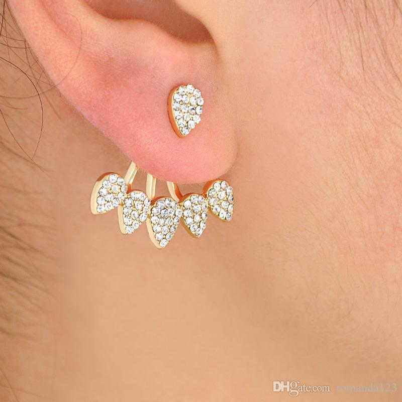 ear stud double silver itm crystal rhinestone jacket sided flower women earring