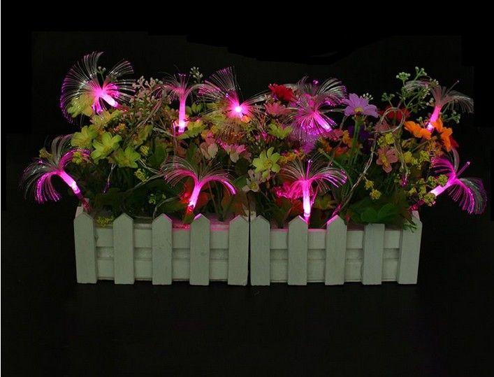 Morning Glory10LED Fibra ottica Batteria String Night Light Lampada Mni Fairy Lights Natale Xmas Decor stringhe