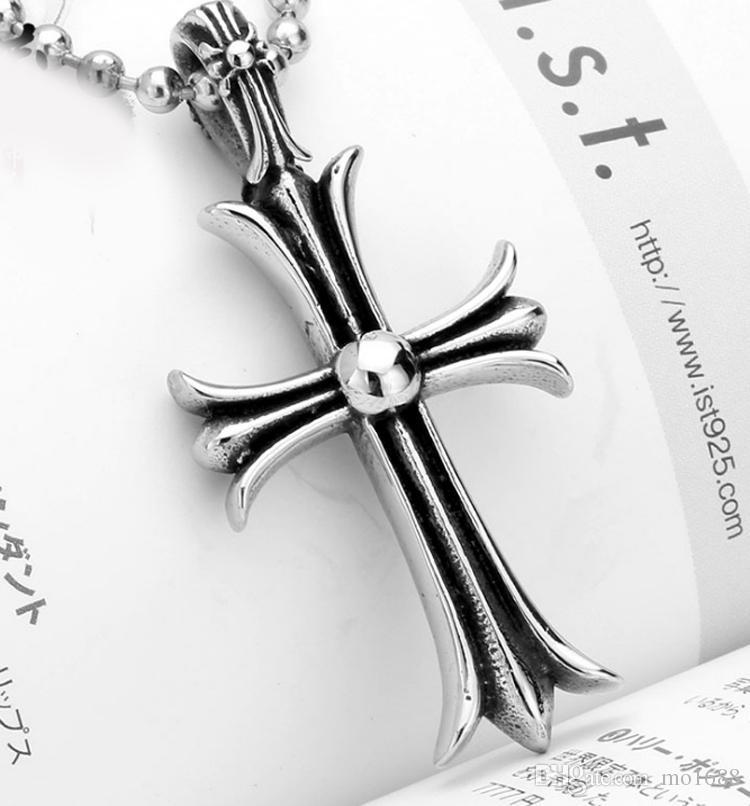 Coração corvo americano jóias moda personalidade cruz retro homens cruz flor de aço atacado