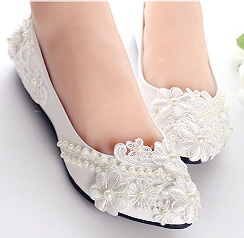 12cb683383e7 Sweet Women New Fashion White Wedding Shoes Flat Ballet Lace Pearls ...