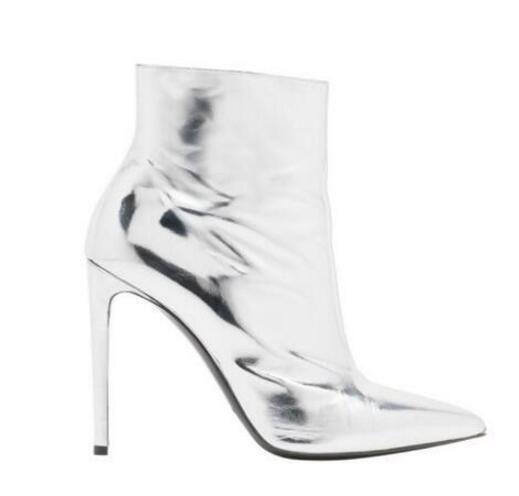 2017 otoño mujeres botines de plata del dedo del pie puntiagudo tacón alto zapatos mujer envío de la gota