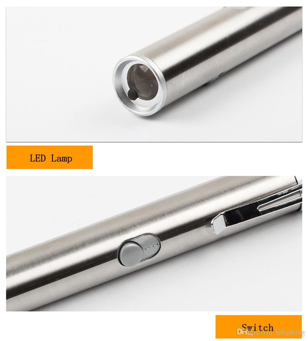 Stainless Steel USB Rechargeable Pocket Mini LED Flashlight Torch Laser Pointer Moon Light Pen Flashlight with metal box