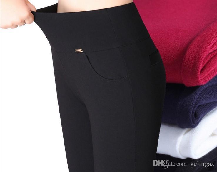 74b922997bfd6 Acheter 2017 Hot Sexy Femmes Pantalons Printemps Et Automne Style Coréen  Viscose Taille Haute Élastique Strenchy Skinny Leggings Crayon Slim Jeans  Mince ...
