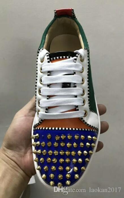 2018 neue High-End Custom Metall Nieten Freizeitschuhe für Herren Niedrige Sneakers mit weichem Boden, Echtleder Größe: 36-47