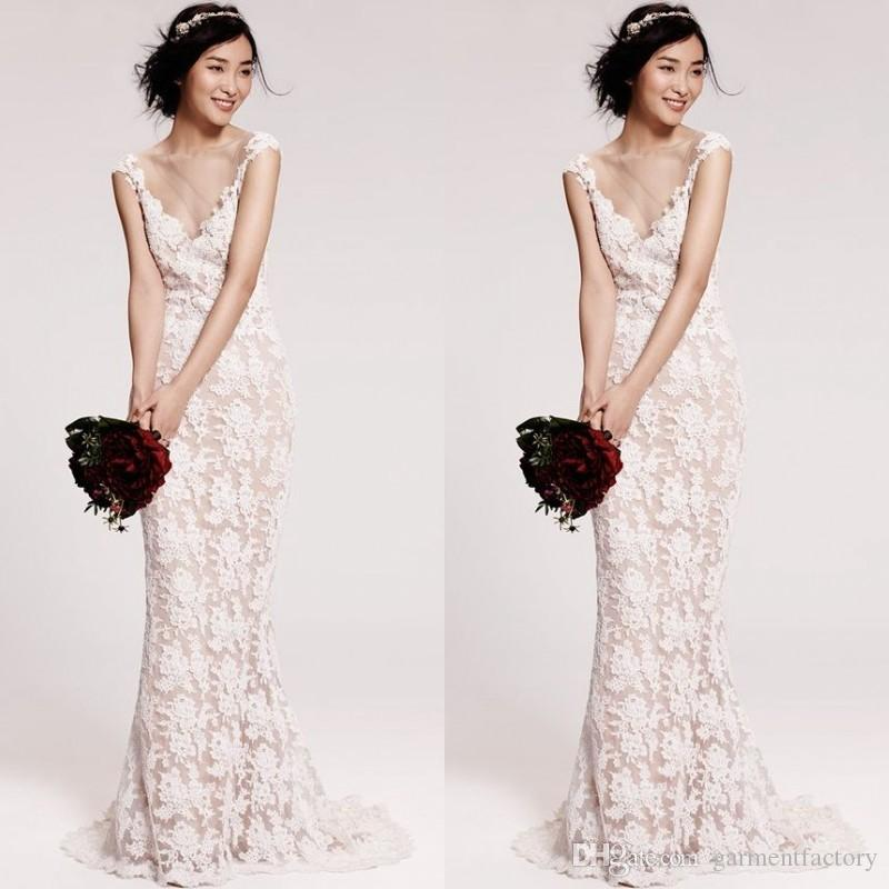 Spring 2017 Elegant Lace Mermaid Wedding Dress Jewel Neck Capped