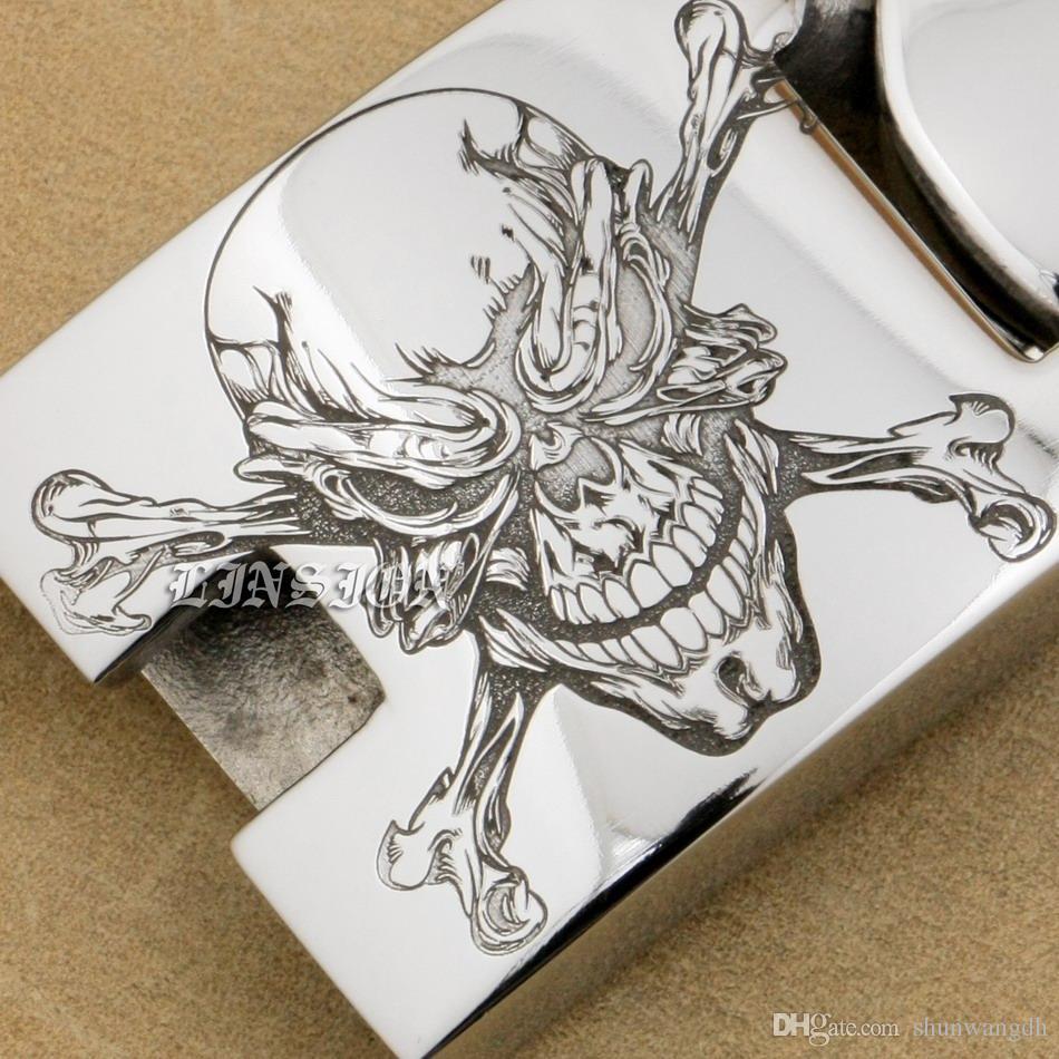 LINSION 6 Lengths Deep Engraved Huge Heavy 316L Stainless Steel Pirate Skull Mens Biker Rock Punk Curb Link Bracelet 5D101