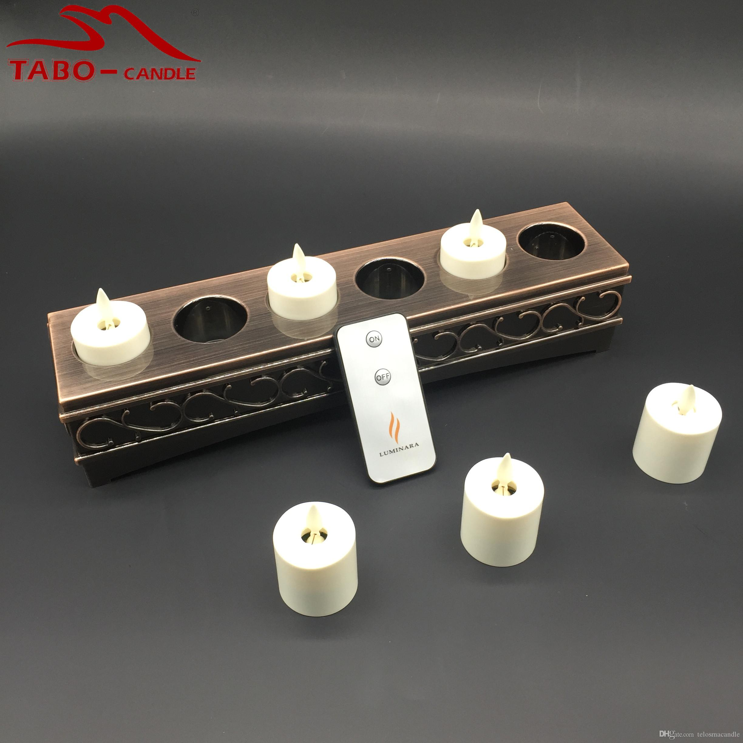Remoted Ready Classic Pillar Real Flame Effect Flameless Luminara Circuits Flickering Candle Rechargeable Led Tealight For Home And Wedding Decoration Dancing