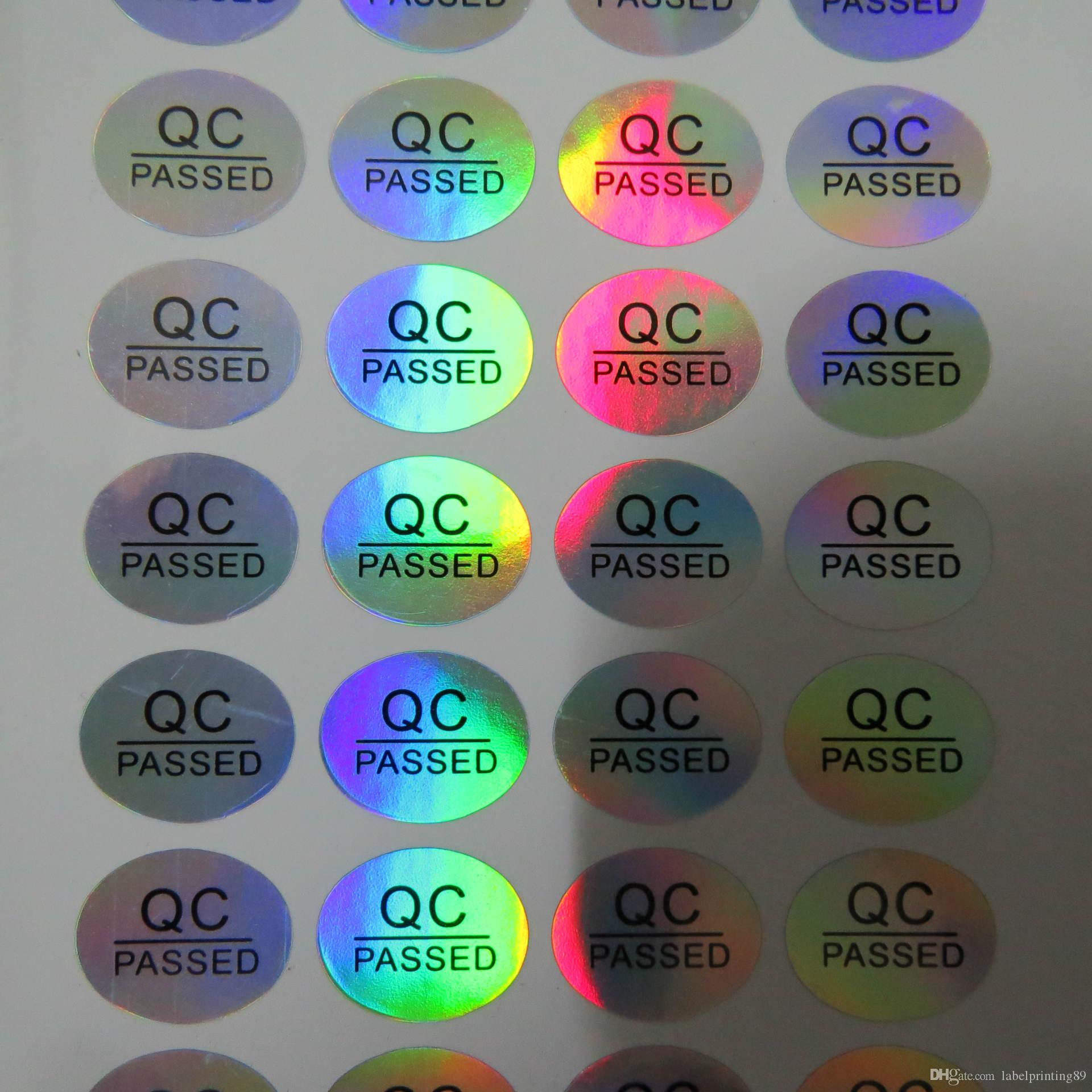 16 * 13mm adesivo permanente rodada QC PASSOU selo garrafa anti-falso holograma etiqueta autoadesiva etiqueta oval rótulo holográfico colorido