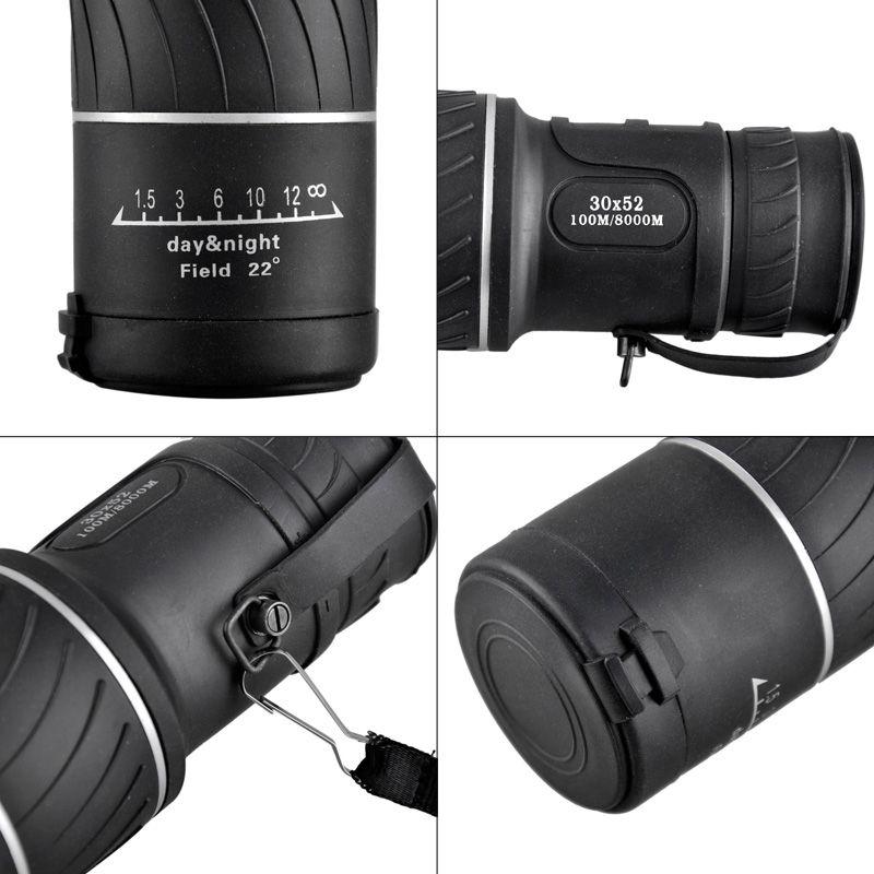 2017 Mini 30x52 Dual para Lentes Ópticos de Enfoque Visión Nocturna Armoring Viajes Telescopio Monocular Turismo Alcances Prismáticos 2507007