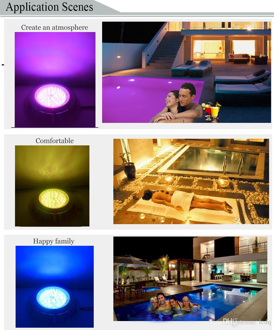 Pool Light LED Underwater Swim Spa Pond Lamp RGB Aquarium Lighting 35W 24W 12W Stainless Steel Wall Mount Pool Fountain Lights IP68 Piscina