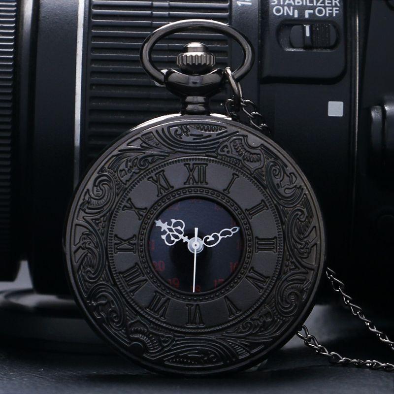 Wholesales Vintage Charm Black Unisex Fashion Roman Number Quartz Steampunk Pocket Watch Women Man Necklace Pendant with Chain Gifts