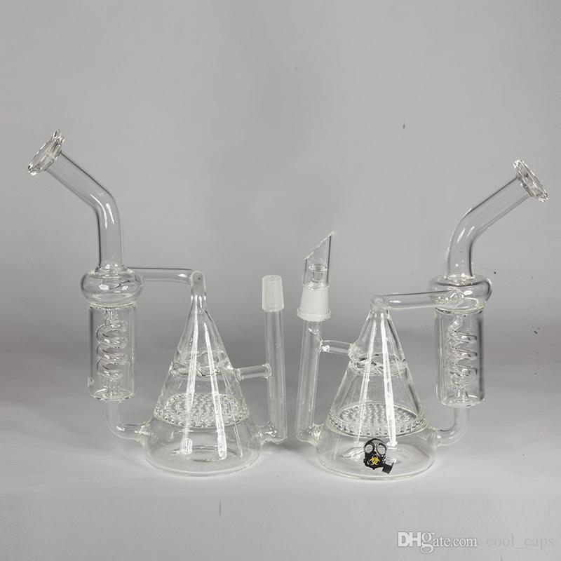 "Oils Rig 14.4mm Joint Glass Water Bongs 8"" Height Bong Honeycomb to Turbine Perc and Vortex Percolator Two Functions with logo To Choose"