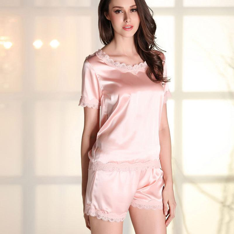 SoftFox Women Sleepwear Summer Silk Pajama Suit Nightwear 2 Pieces Pajama  home clothing Set For Ladies 4d1230a6d