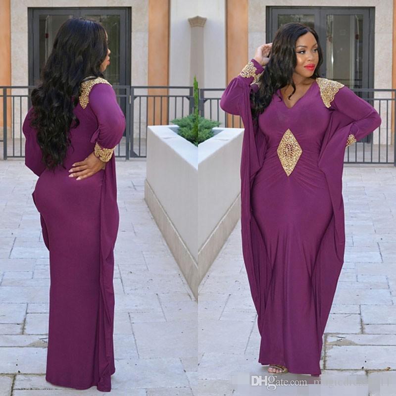 Abiti da sera a maniche lunghe viola Kaftan Abaya Medio Oriente Arabia Saudita Indian Lady eleganti abiti da ballo con applicazioni dorate plus size