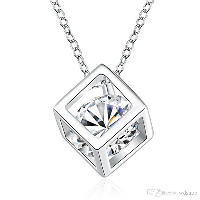 White Gold Plated Cube Square Cubic Zirconia Diamond Pendant Necklace Swarovski Elements Jewelry For Women Wedding Jewelry