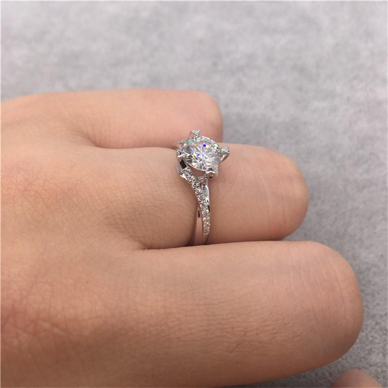 YHAMNI NEUE Design Modeschmuck Luxus Frauen Verlobungsring 925 Sterling Silber 5A Diamant Hochzeit Krone Ringe JR071