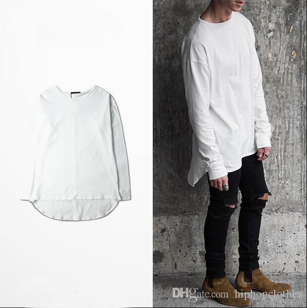 Mens Plain Cotton White T Shirt Kanye West Bieber Style Long ...