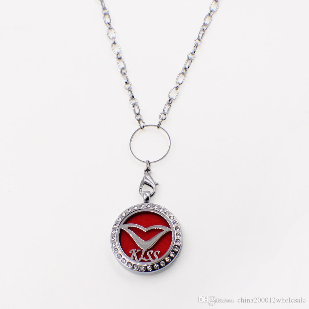 XX046 beijo boca aromaterapia difusor essencial medalhão liga de cristal 30 mm oco medalhão de prata feltro livre almofadas melhor presente de aniversário