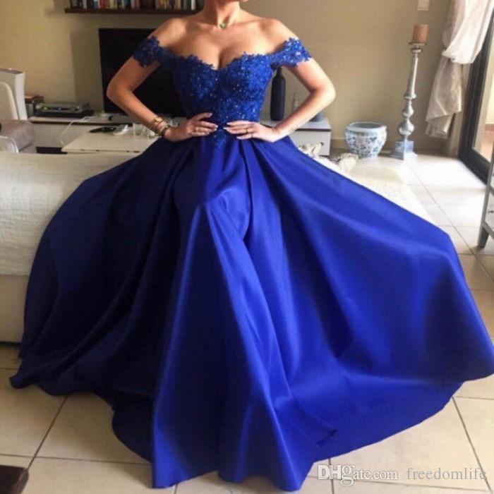 Элегантные королевские синие вечерние платья 2017 Длинные кружевные платья выпускного вечера с плеча плюс размер вечернее платье