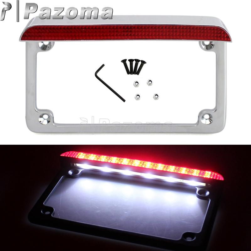 Chrome 4 X 7 Licence Plate Frame Led Taillights Number