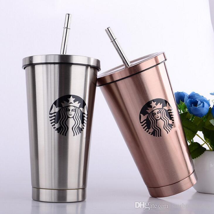 New Style Stainless Starbucks Coffee Mug With Straw Coffee