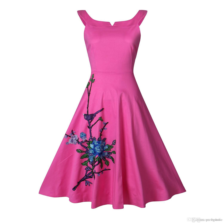 Compre Vestido De Verano De Las Mujeres Hepburn 1950 Vintage ...