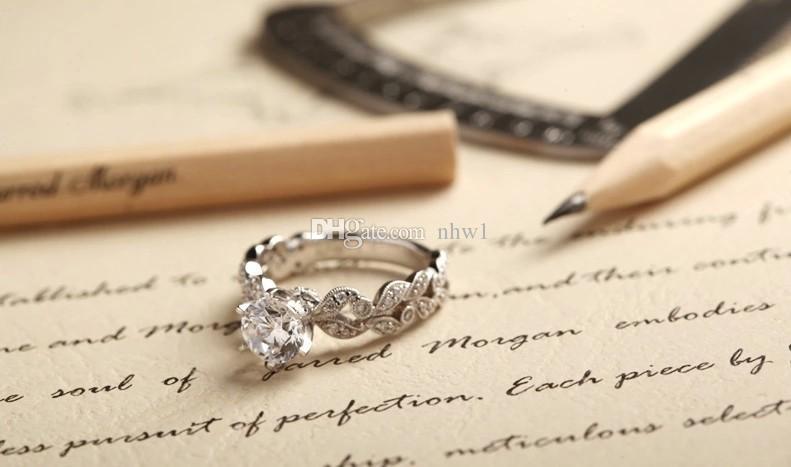 الكلاسيكية النساء 925 فضة مجوهرات فاخرة الزركون الماس حجر الراين خواتم الخطبة عرس للصديقة السيدات هدية
