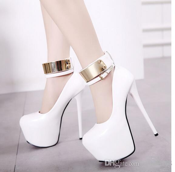 spring autumn fashion new Women's high-heeled static surface Coat of paint A word buckle 16 cm Waterproof Taiwan Ultra high with Women shoes