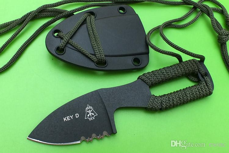 TOPS Key Knife D Neck Knife Fixed Blade Knife Stonewashed 440C 57HRC Tactical Camping Survival EDC Tool With Sheath